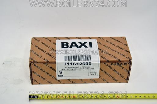 Baxi DHW heat exchanger for 10 plates, 711612600
